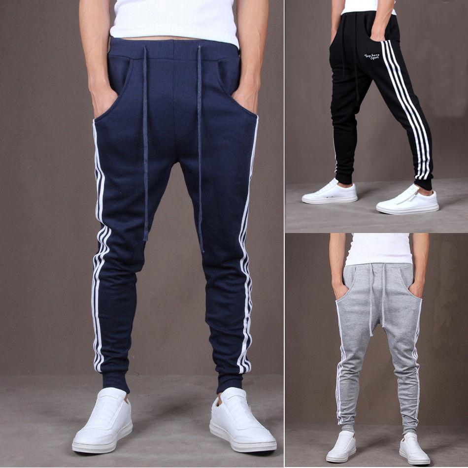 Men Joggers Sport Casual Gym Pants Side Stripe Skinny