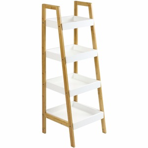 4 layers living room corner ladder storage shelf - bamboo white painting .