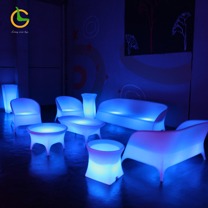Factory wholesale modern remote control 16 color change plastic hotel nightclub outdoor led sofa