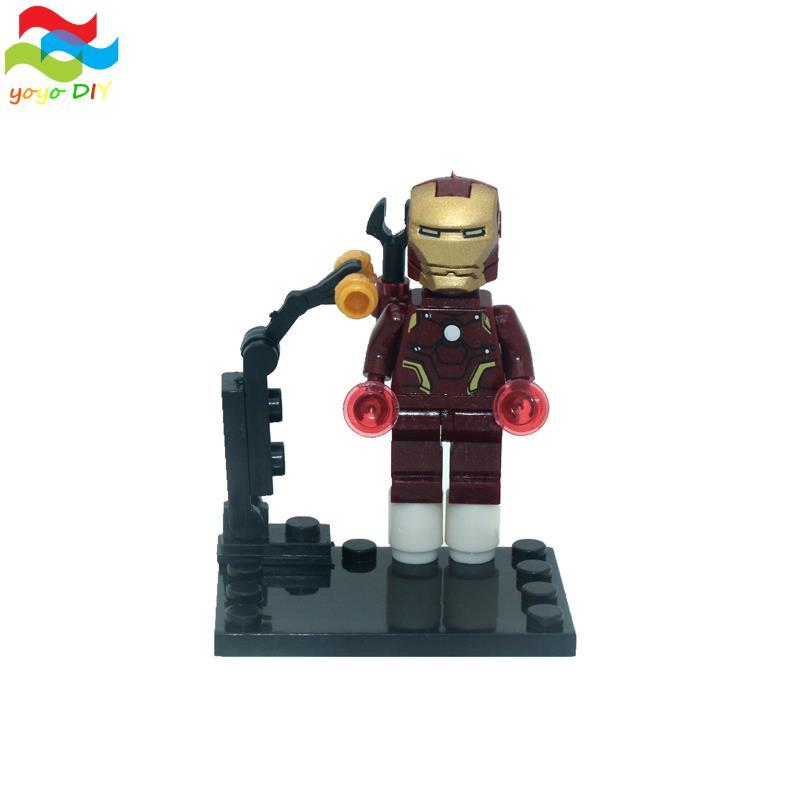 8pcs lot Super Hero Iron Man Superheroes Kid Baby Toy Mini Figure Building Blocks Sets Model