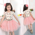 2016 summer new children s clothing girls dress print pattern cotton short sleeved floral child girl