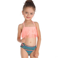 Fringed Split Girl Swimsuit Children Cover Up