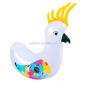 custom print white rooster inflatable cocky racer pool ride-on animal