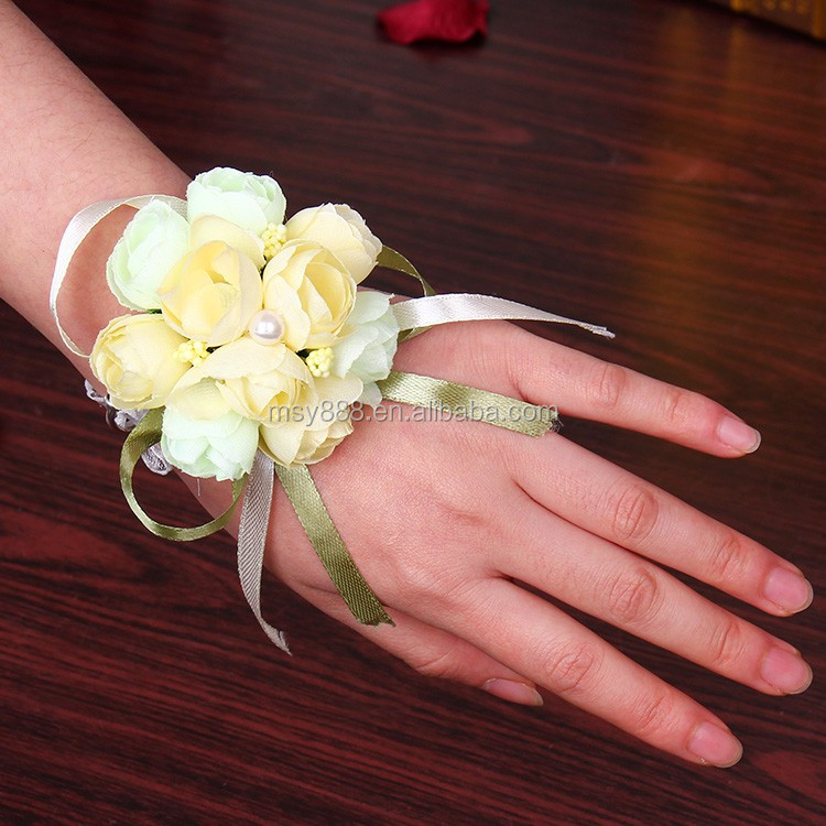 New Hot Bridal Bridesmaid Wrist Corsage Wedding Artificial Rose Flower Hairband