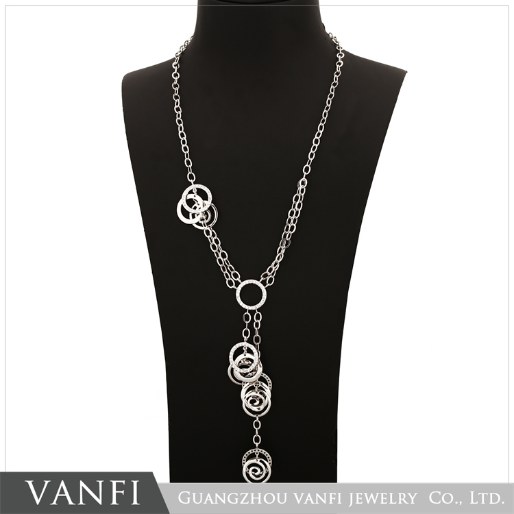 Popular product 18k white solid gold plated diamond necklace wholesale