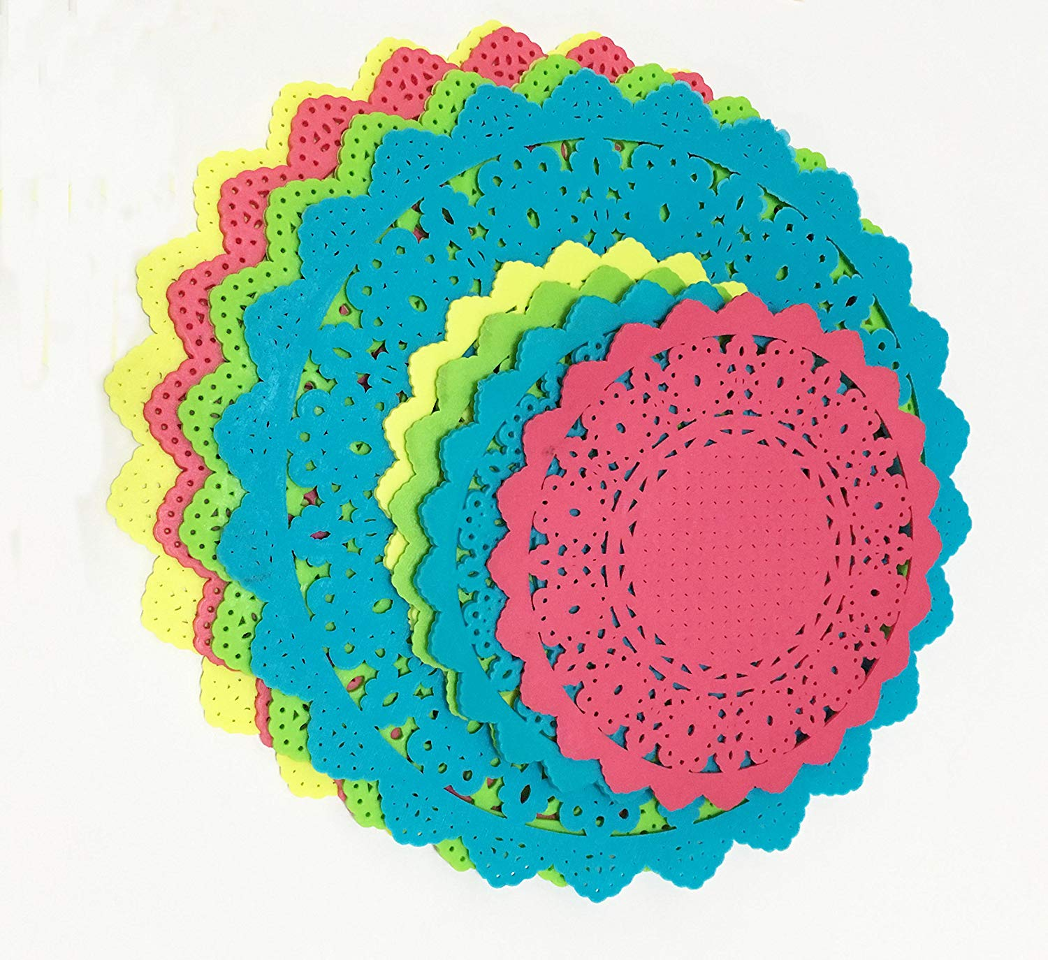 Colorful Hollow Thick PVC Placemats Pot Holder Creative Retro Lace Coasters Bowls Mat Placemat Coaster Pot holder Diameter10CM,16CM (Green,Blue,Yellow,Rose Red,8 PCS)