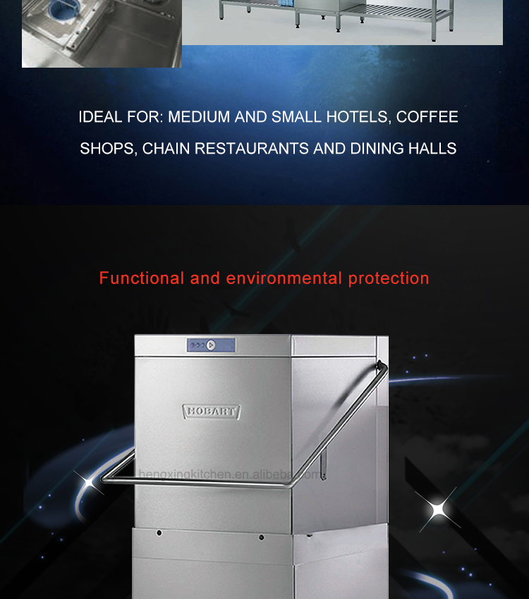 Automatic Hotel Hood Type Industrial Commercial Bowl Dish Washing Machine