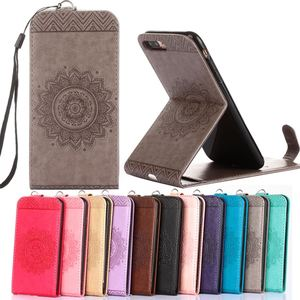 "Luxury Phone Bags for 5s 6s 7 plus 5.5"" Case Emboss flower Leather Stand Pouch Flip Vertical Wallet for iphone 7 8 X coque shell"