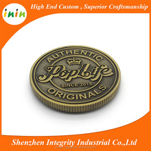 Promotional 3D effect Custom engraved logo Stamp Metal Coin for USA market