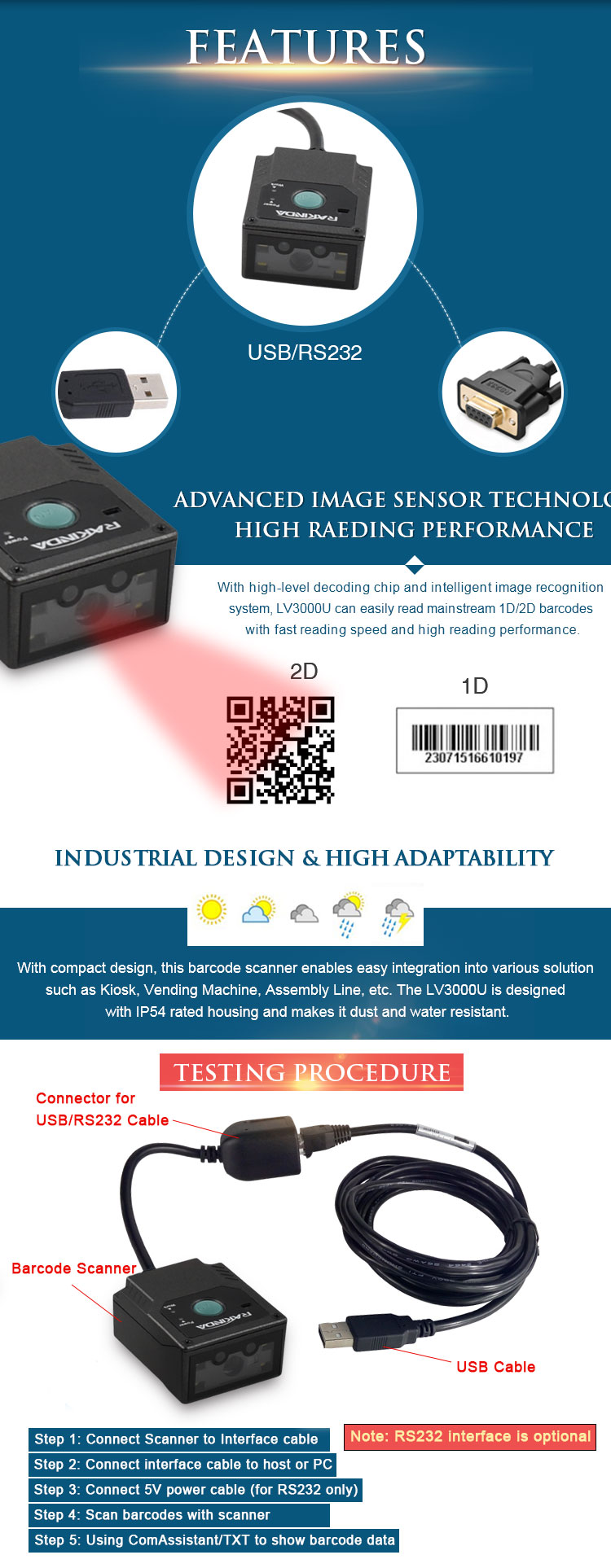 LV3000U High quality Auto Scan USB RS232 CMOS 2D Barcode Scanner Reader Module For Self-service Equipment