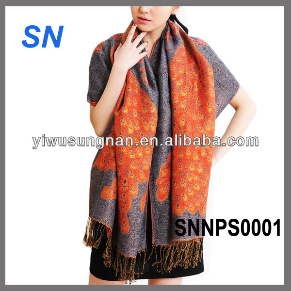 fashion print pattern peacock pashmina scarf