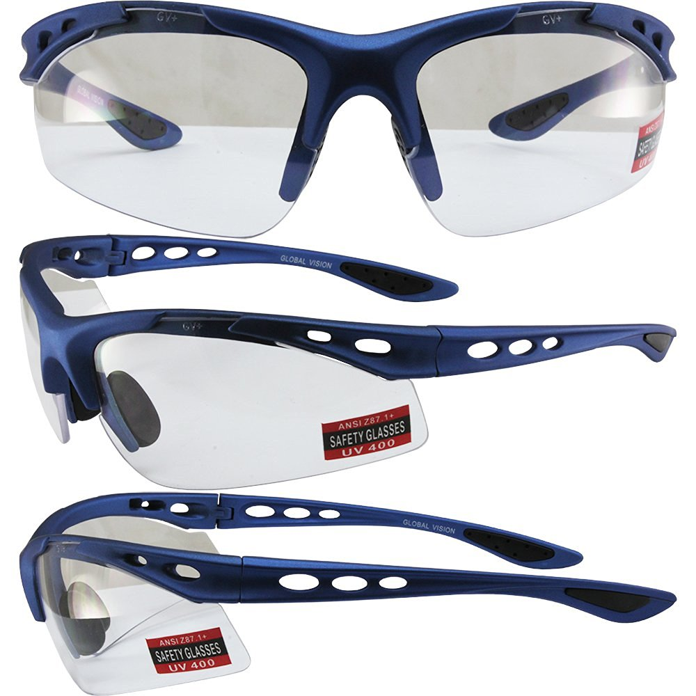 2165e88d6a5 Get Quotations · Global Vision Assassin Motorcycle Safety Sunglasses Matte  Blue Frames Clear Lenses ANSI Z87.1+