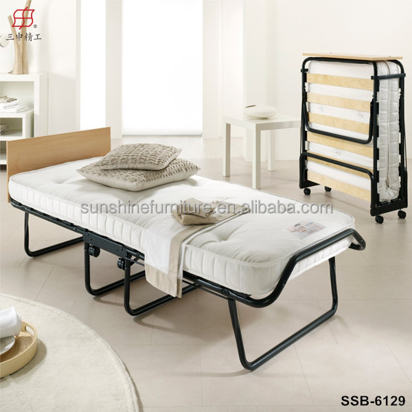 Single folding bed guest bed for hostel with mattress and for Rollaway bed ikea
