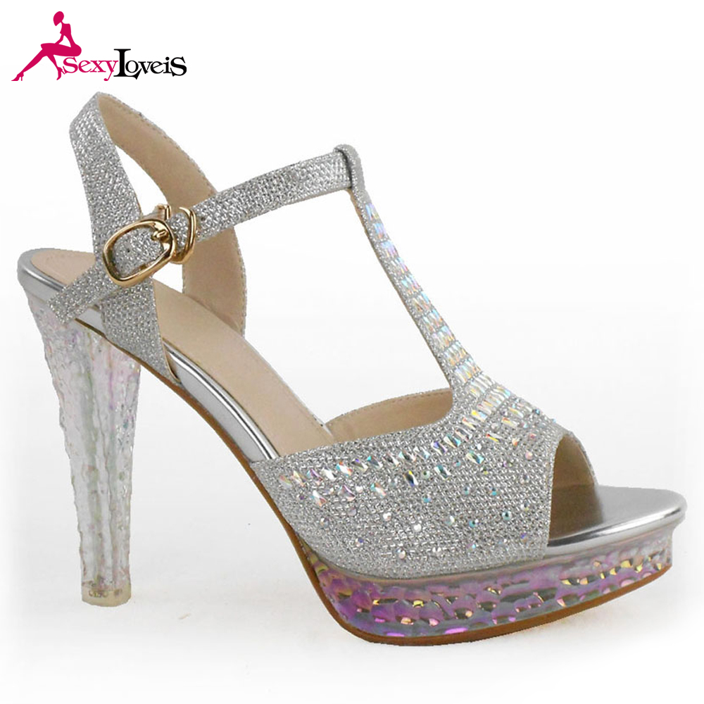 b79424605368 China wholesale alibaba hot sale fashion thick heel crystal PLATFORM silver  shoes sandals ladies beauty footwear