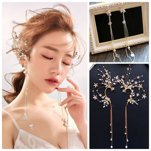 Europe America bridal big retro clip earrings without piercing exaggerate beads earrings cuff tassel chains ear hook