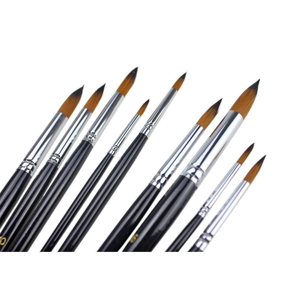 9Pcs Round Pointed Tip Paint Brush Set Artist Taklon Bristle Paint Brushes for Watercolor Acrylic Oil Painting Supplies