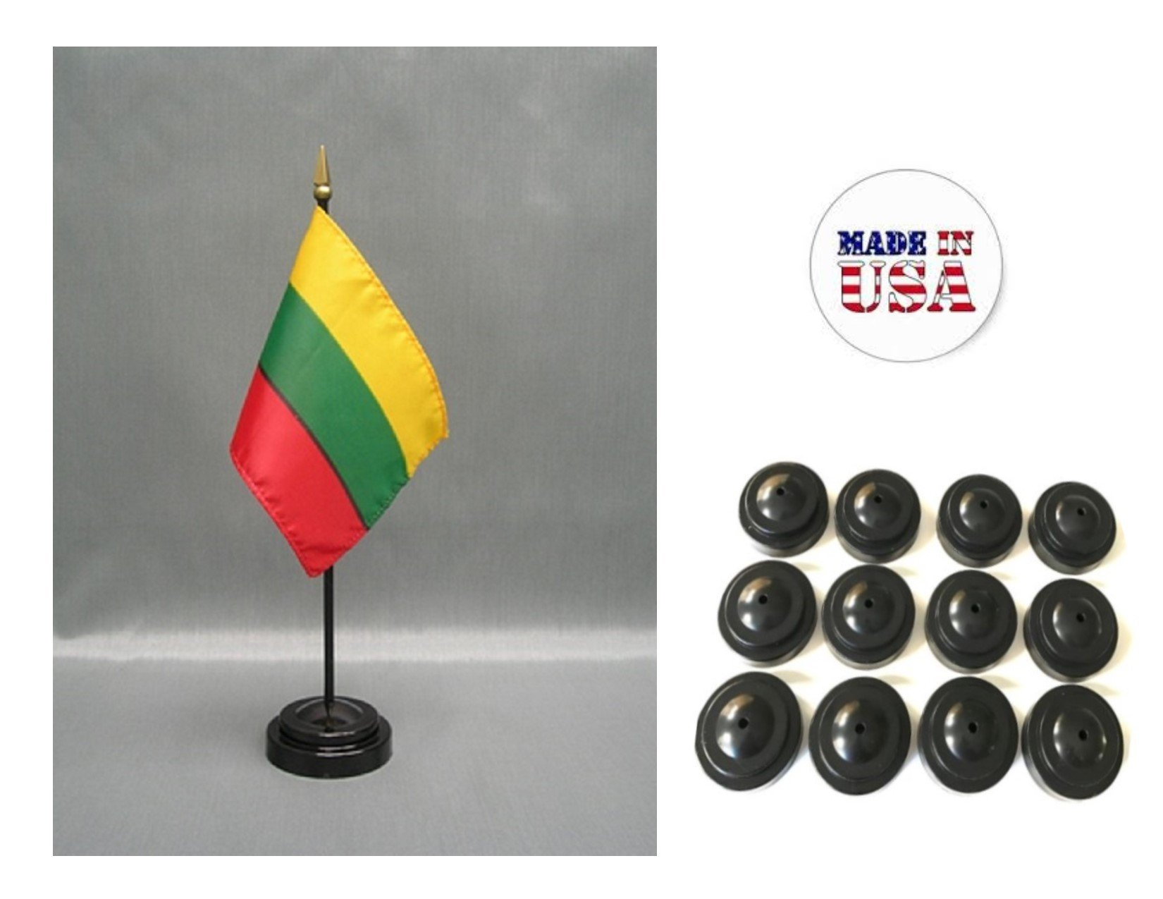 "Made in the USA!! Box of 12 Lithuania 4""x6"" Miniature Desk & Table Flags Includes 12 Flag Stands & 12 Lithuanian Small Mini Stick Flags"