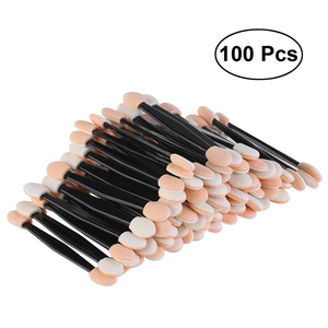 100pcs Disposable Dual Sided Eyeshadow Brush Sponge Tipped Oval Makeup Applicator