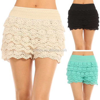 Sexy Tiered Crochet Lace Stretch Waist Shorts Women Tiered Floral