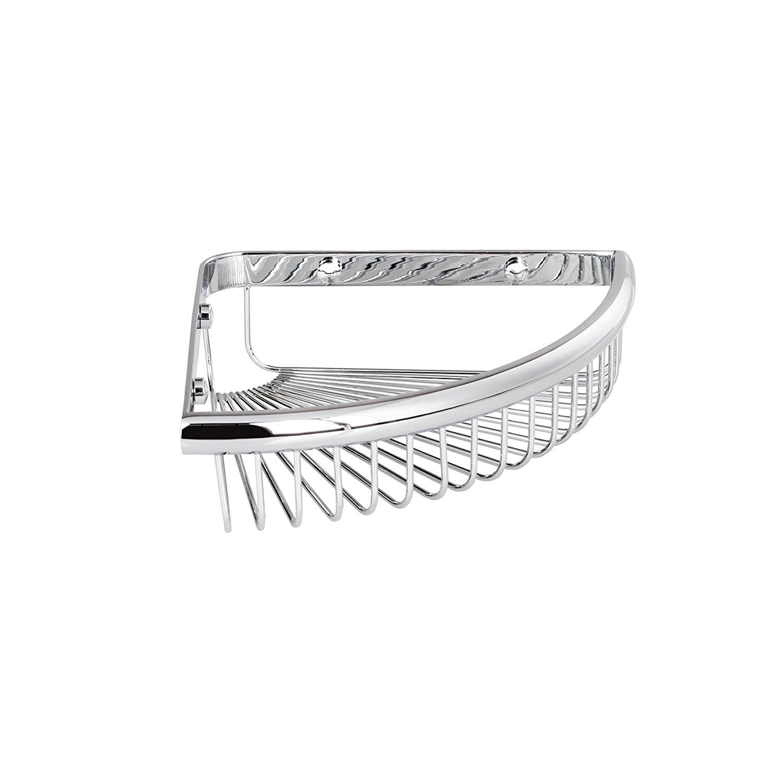 "MAYKKE Dawn 9"" Wall Mount Corner Shower Basket Shelf | Wire Caddy for Shampoo, Conditioner, Soap, Razor Storage | Solid Brass Bathroom Tub Accessories Holder & Organizer | Polished Chrome, XYA1070401"
