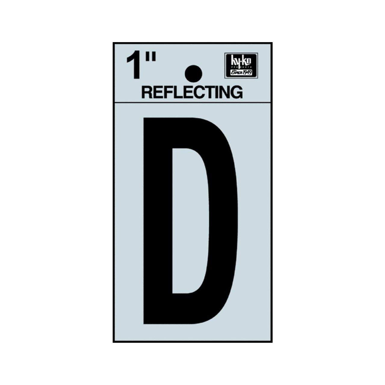 "Hy-Ko RV-15/D 1.25"" Black Reflective Letter D Sign"