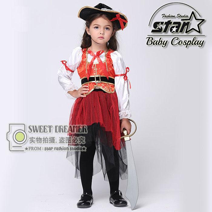 Halloween font b Children b font Kids Caribbean Pirate Costume font b Dress b font With