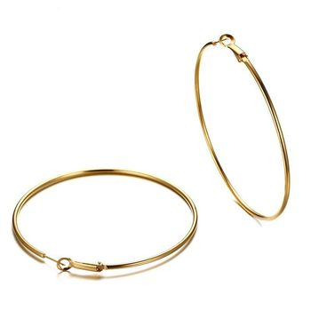 Fashion Jewelry High Quality Simple Circle Stainless Steel Gold Plating Hoop Earring For Women