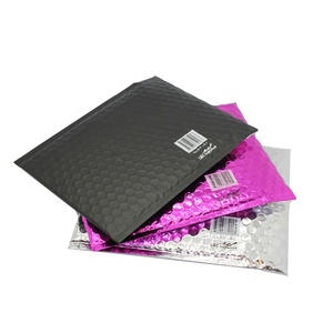 Self Adhesive Seal Custom Color Printed Aluminum Foil Padded Mailer Shipping Metallic Matte Black Bubble Envelopes