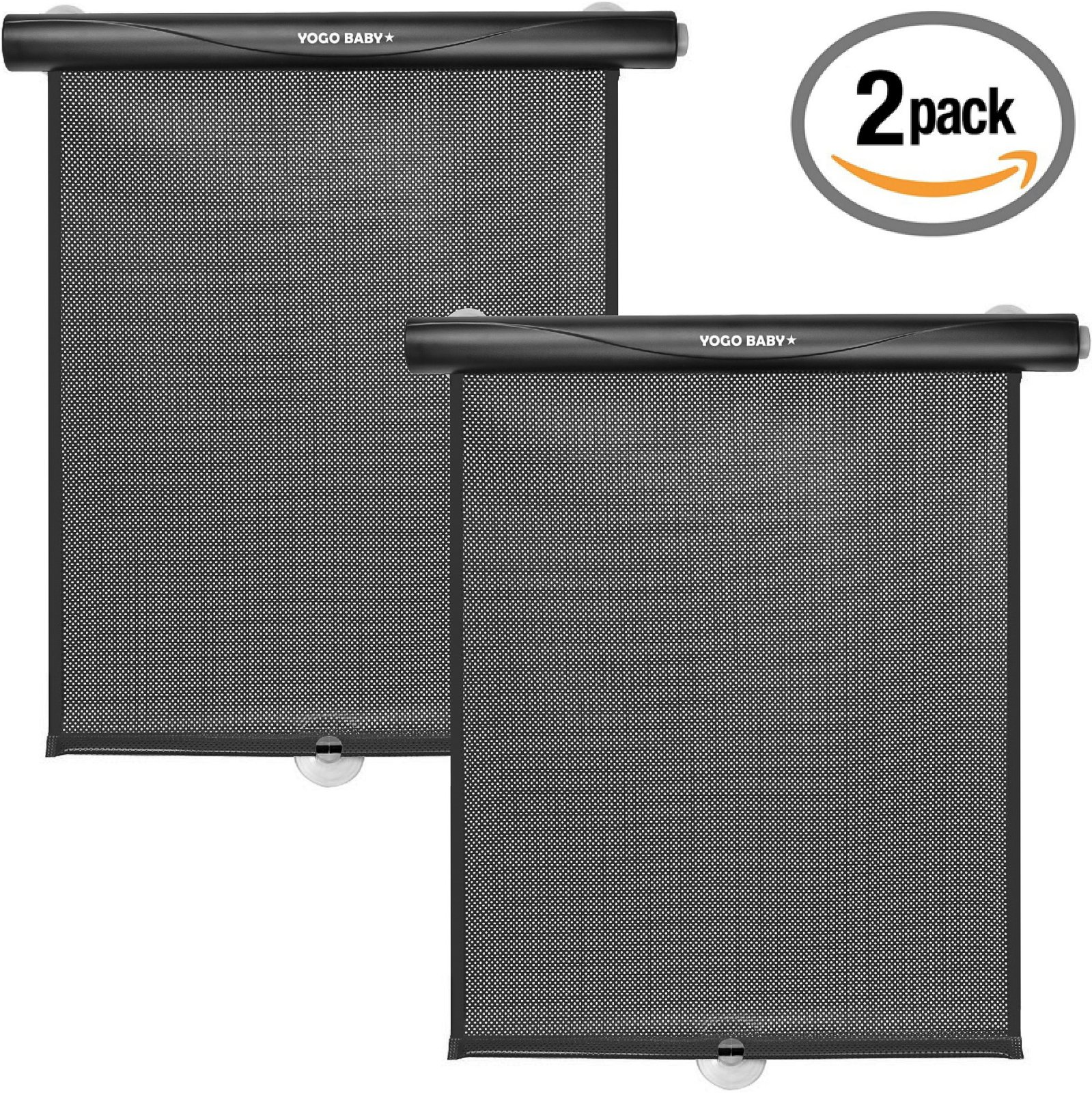 Car Roller Sunshade Deluxe Set of 2 Black Retractable Car Window Sunshade Blocks Sun and Keeps Car Cool for Babies and Kids