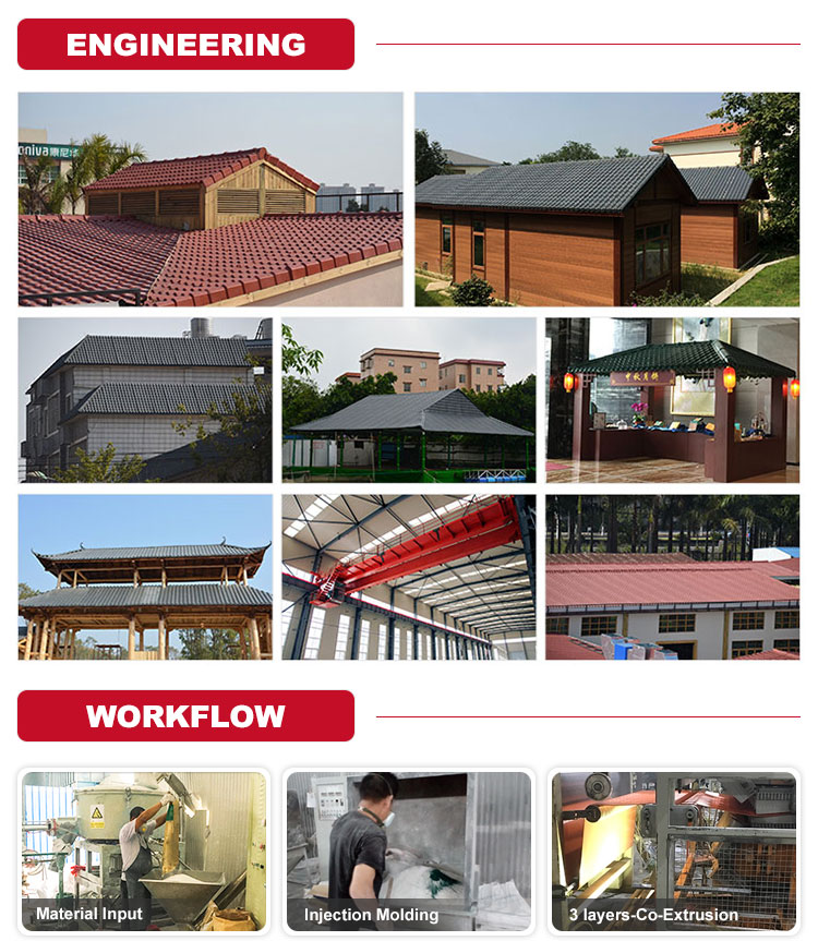 Heat resistance corrugated plastic  asa synthetic resin roof panels corrosion resistance  colored roofing material