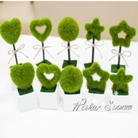 2016 newest design artificial moss letter mini potted plant with wholesale price