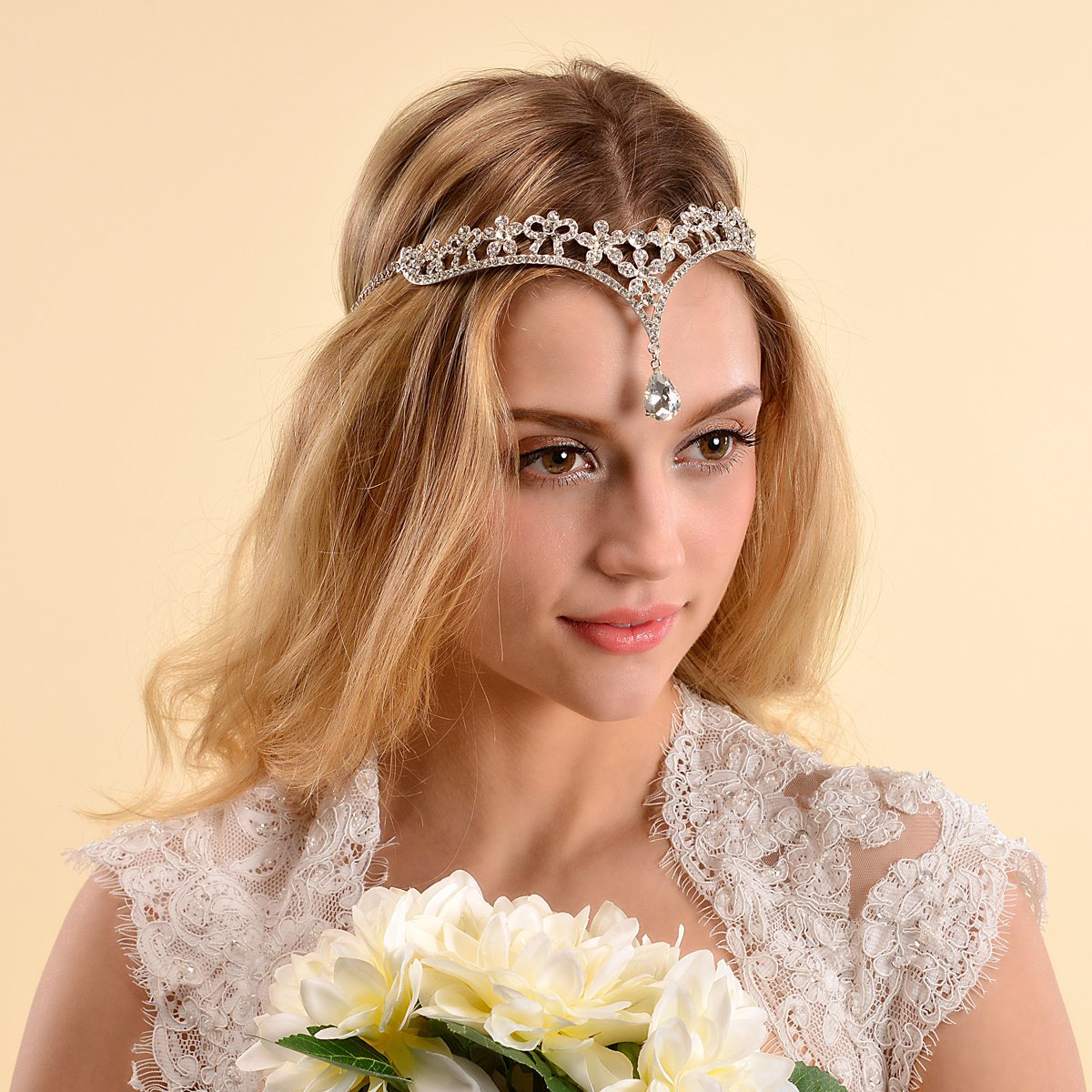 Remedios Crystal Sweet Wedding Tiara Bridal Headband forehead Chain Headpiece, Silver