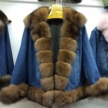 2018 Russian Style Winter Short Denim Jacket parka with Thick Real Fox Fur Collar and trim