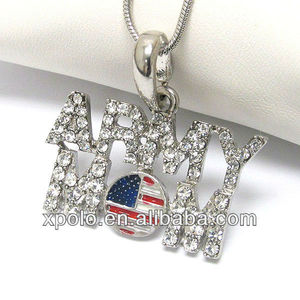 wholesale costume crystal army mom and american flag pendant necklace jewelry
