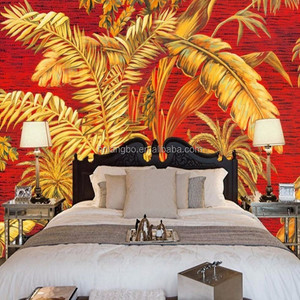 Southeast Asian Style Hd Palm Tree Oil Painting Background Wall Stereo High Quality Bedroom Wallpaper Mural