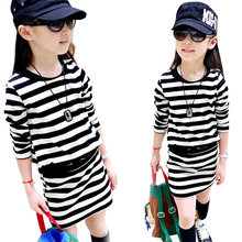 2016 spring new children s clothing baby causal stripes package hip long sleeved girl dress for