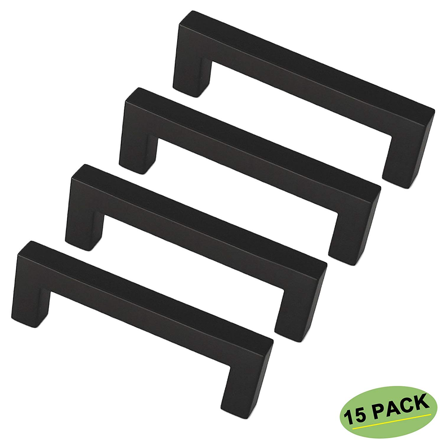 homdiy Black Pulls for Cabinets Matte Black Cabinet Pull 15 Pack HDJ12BK 3 inch Center to Center Black Kitchen Hardware Black Square Bar Cabinet Pull