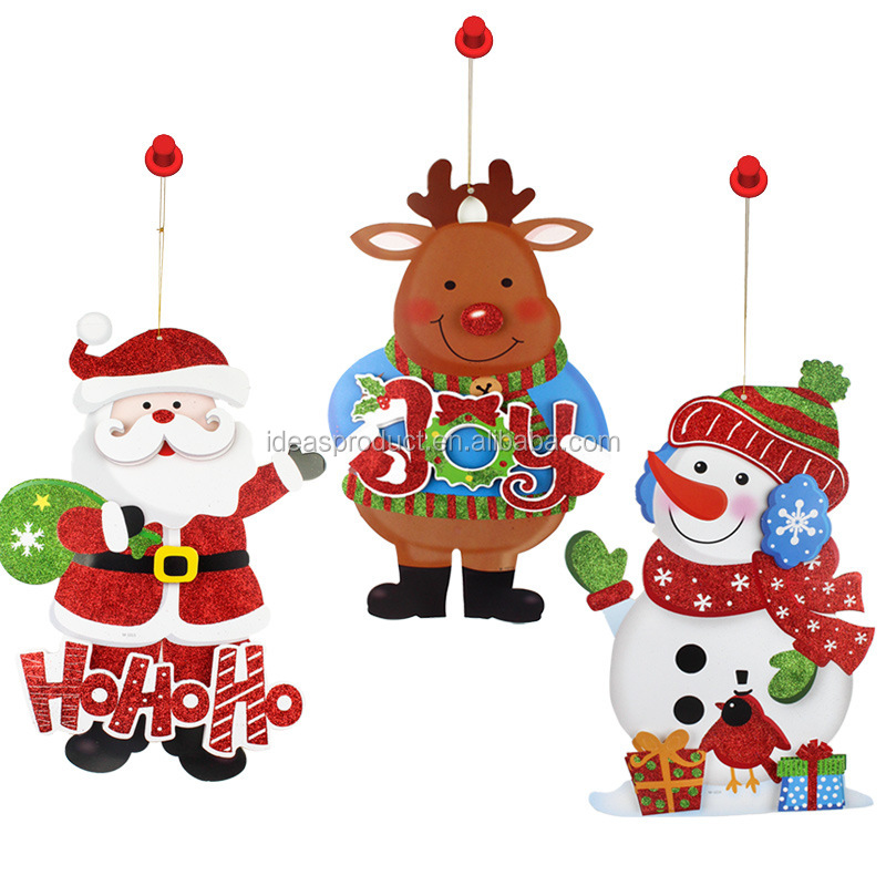 3D paper santa claus glass window stickers/Glitter christmas wall stickers