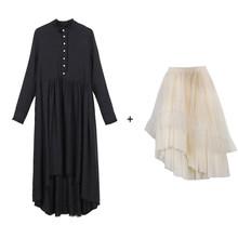Женское длинное платье EAM, черное плиссированное платье с воротником-стойкой и длинным рукавом, модель JR474 на весну, лето, Осень 2020(Китай)