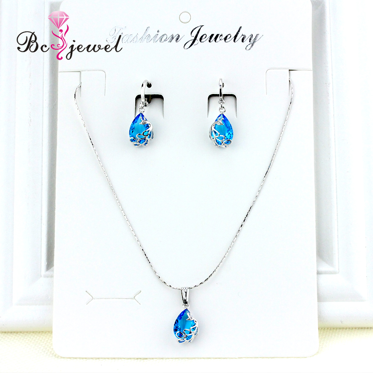 Guangzhou Bc Jewelry Silver Royal Blue bridal Rhinestone Peacock Pendants Jewellery Sets