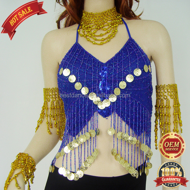 BestDance Tribal Sexy Belly Dance Bra Tops with Coins Dancer Sequin Bra Tops OEM