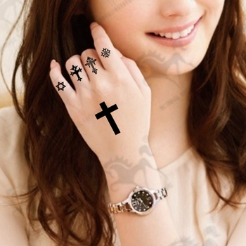 Black Cross Religious Temporary Tattoo - Buy Cross Temporary Tattoo ...