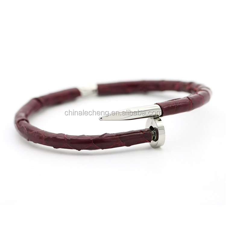 adjustable nail clasp personalized python leather cord bracelet mens stainless steel bracelet men's bracelet leather custom