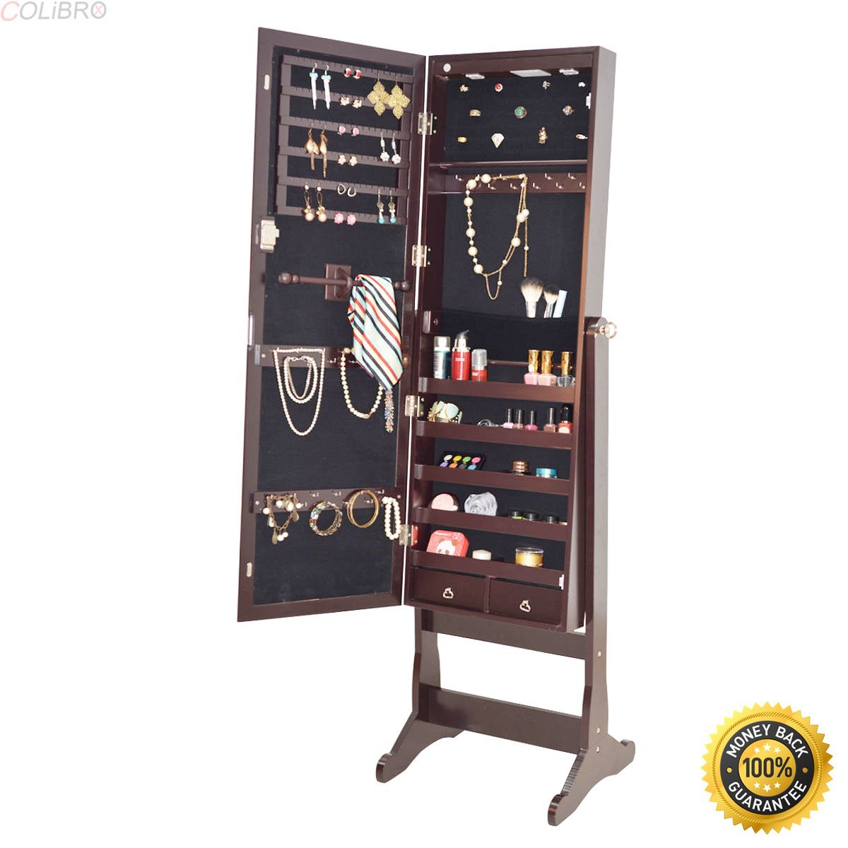 COLIBROX--Mirrored Jewelry Cabinet Armoire Organizer Storage w/ LED Lights Christmas Gift,locking jewelry armoire,locking jewelry armoire floor standing,jewelry box for necklaces,jewelry gift box
