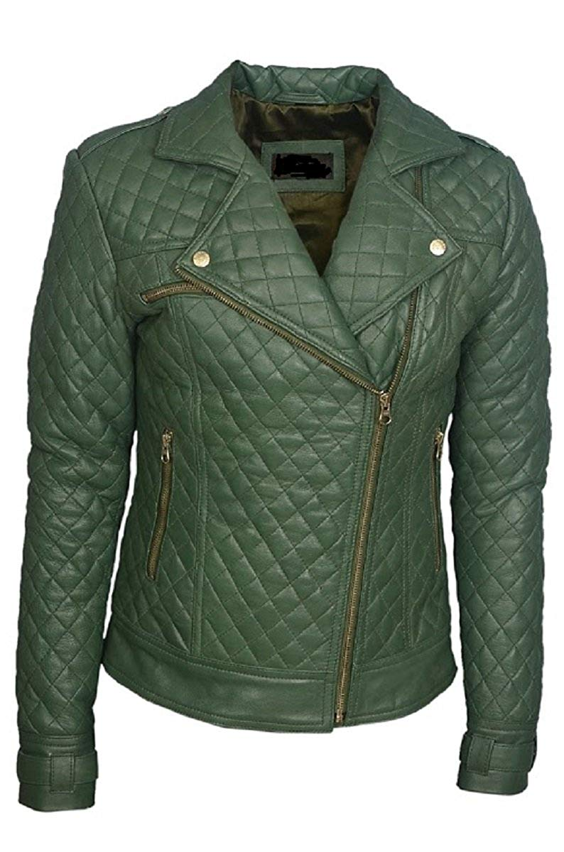 Bestzo Women's Fashion Motorbike Lamb Leather Jacket Green XXL