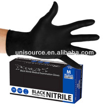 CE approved examination Disposable black nitrile gloves