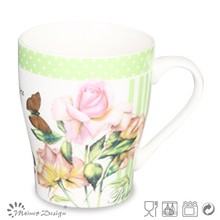 cone shape tall ceramic tea mug with flower decal