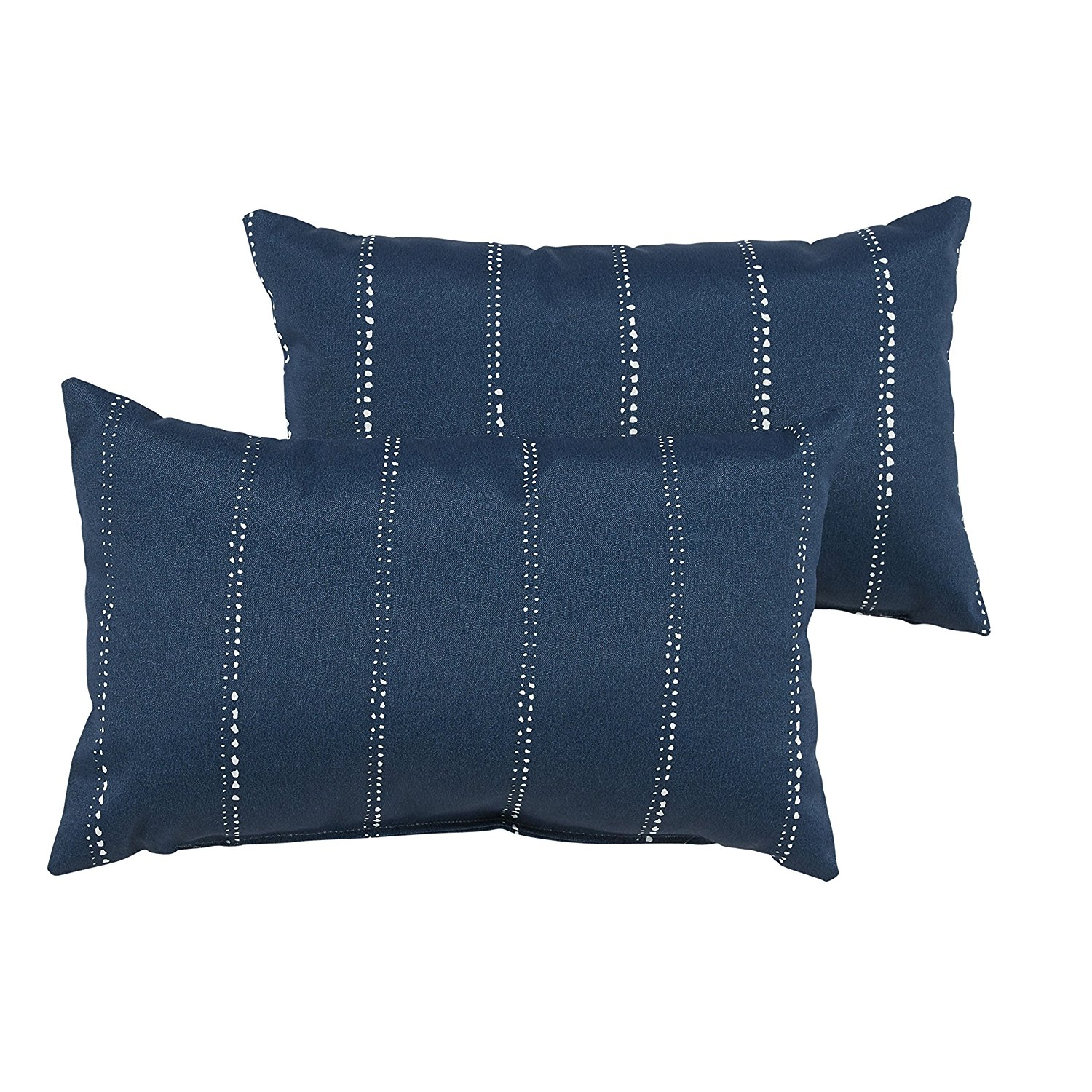 Mozaic Company Indoor/ Outdoor 12 by 18-inch Knife Edge Pillow, Navy Dotted Stripes, Set of 2