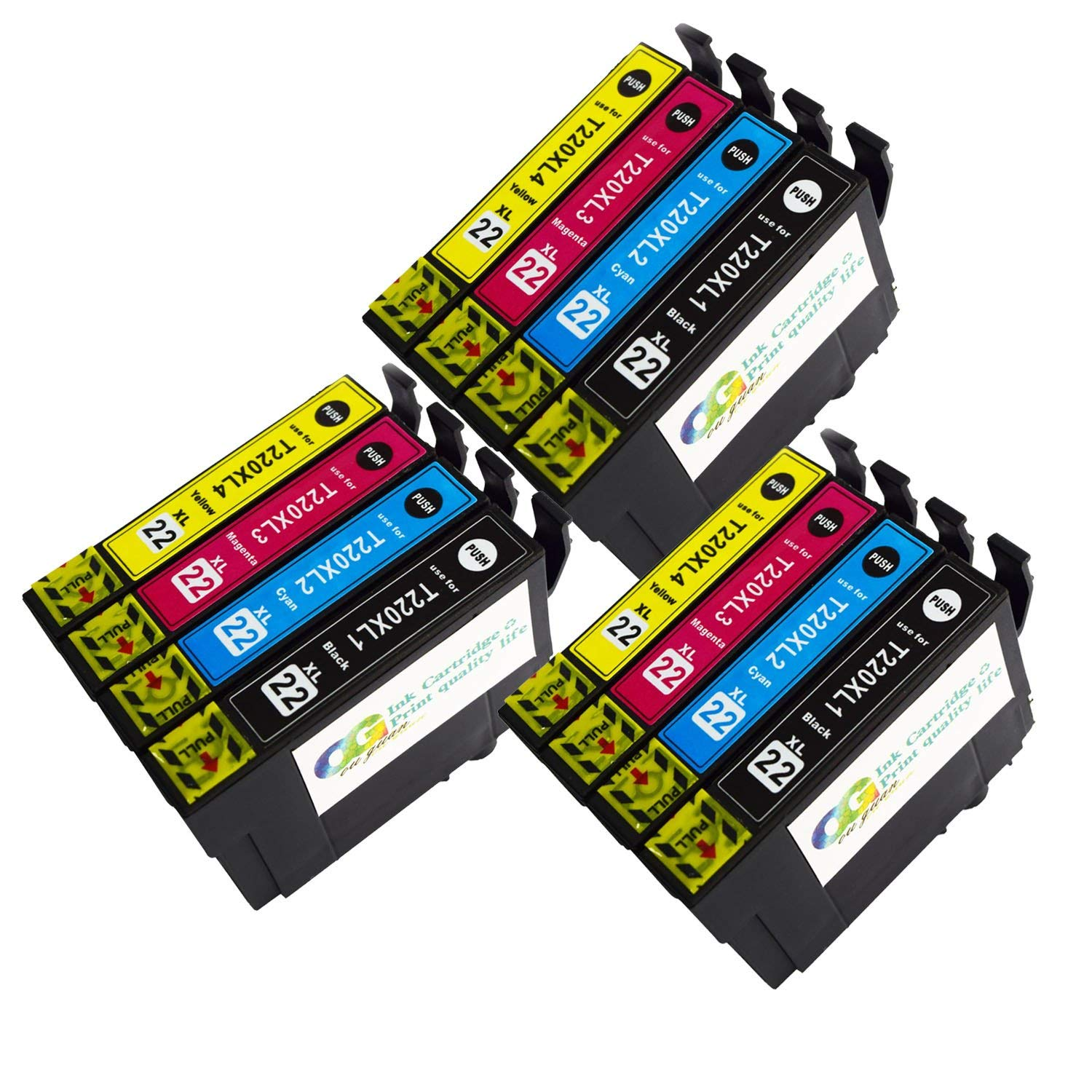 Lic Store 12-Pack replacement Remanufactured 220 T220 220XL Ink Cartridge for use in WF-2760 WF-2750 WF-2630 WF-2650 WF-2660 XP-320 XP-424 XP-420 series printer. 12 PK (3BK 3C 3M 3Y)