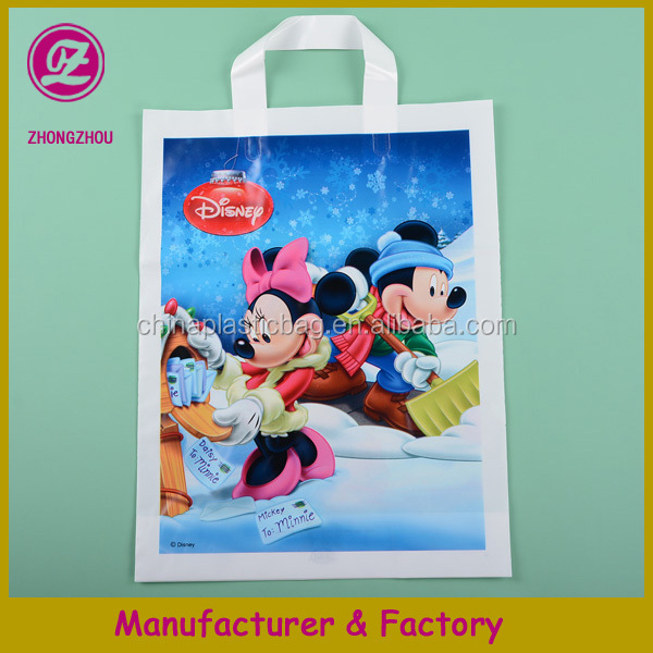 happy mouse cartoon print 31*41cm bottom gusset plastic packaging bag with soft loop for promotion from china